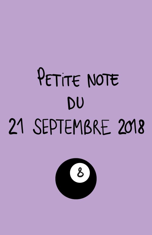 Petite note du 21 septembre 2018