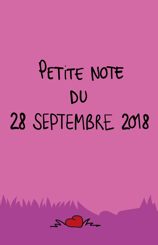Petite note du 28 septembre 2018