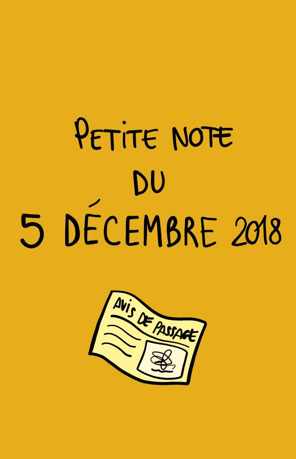 Petite note du 5 décembre 2018