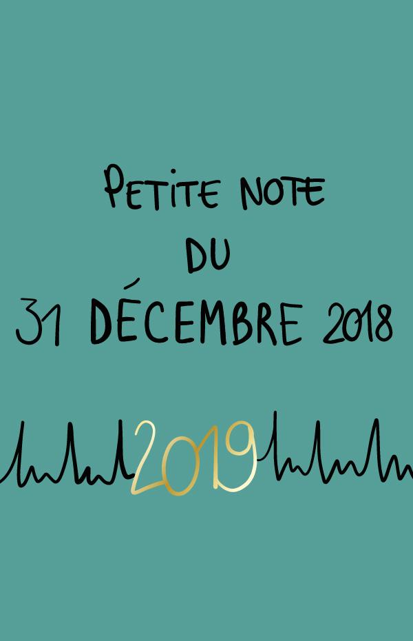 Petite note du 31 décembre 2018