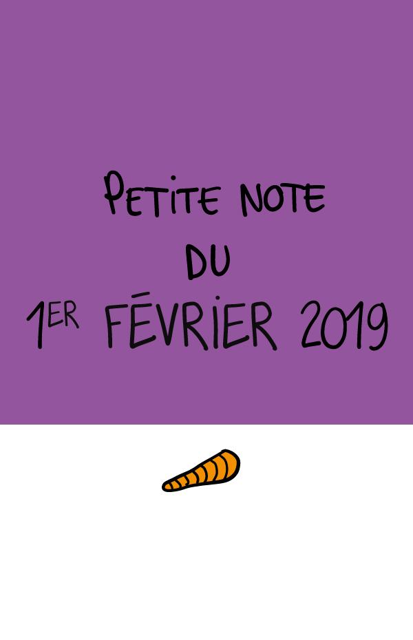 Petite note du 1er février 2019