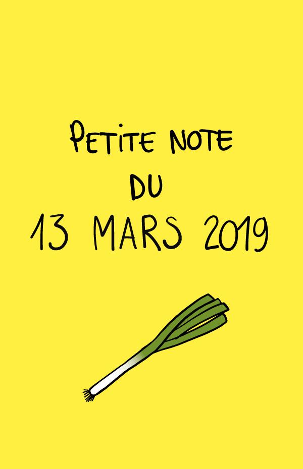 Petite note du 13 mars 2019