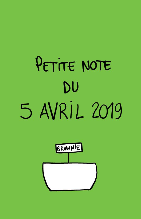 Petite note du 5 avril 2019