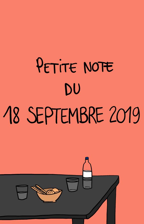 Petite note du 18 septembre 2019