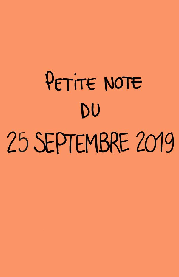 Petite note du 25 septembre 2019