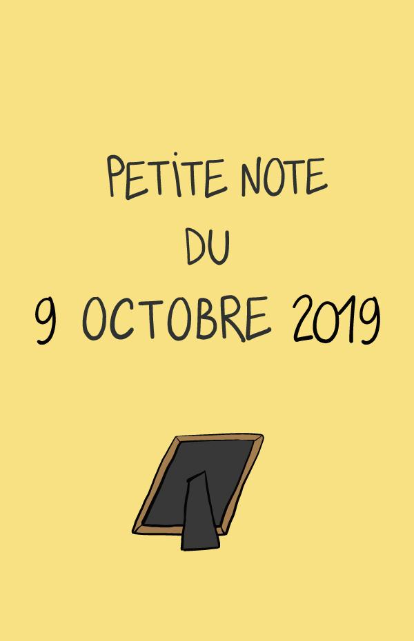 Petite note du 9 octobre 2019