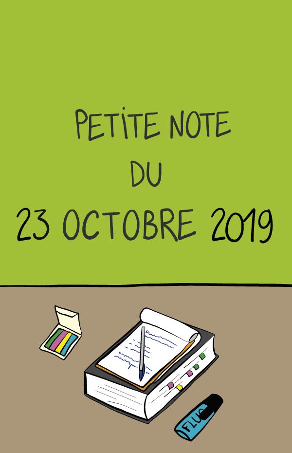Petite note du 23 octobre 2019