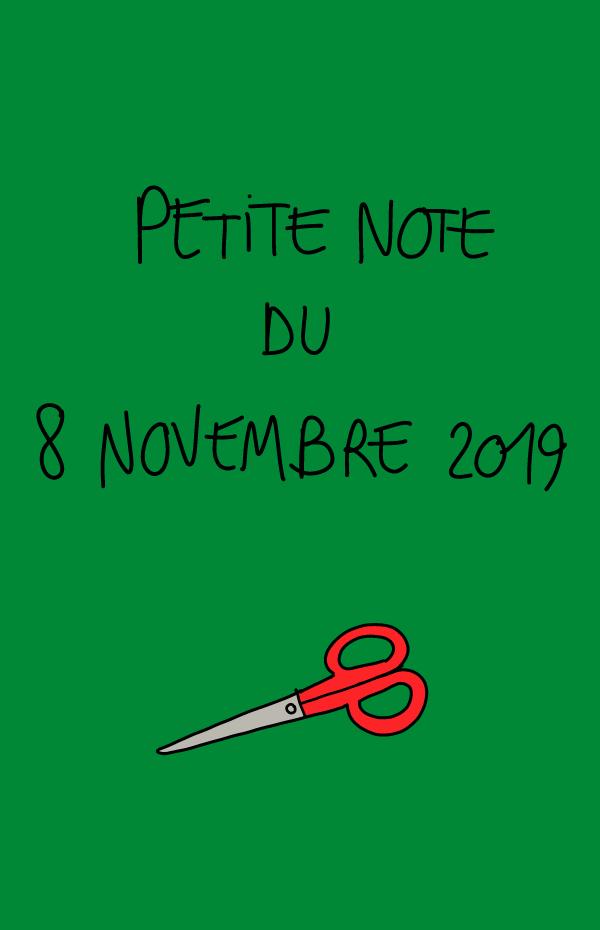 Petite note du 8 novembre 2019