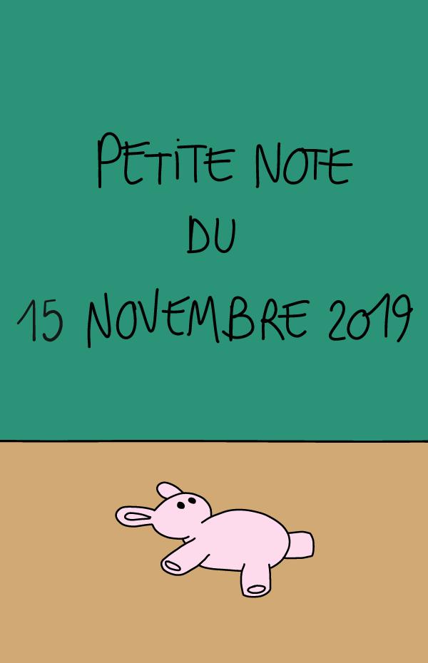 Petite note du 15 novembre 2019