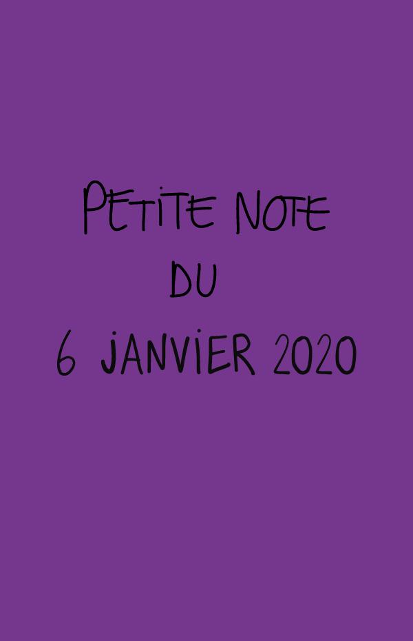 Petite note du 6 janvier 2020