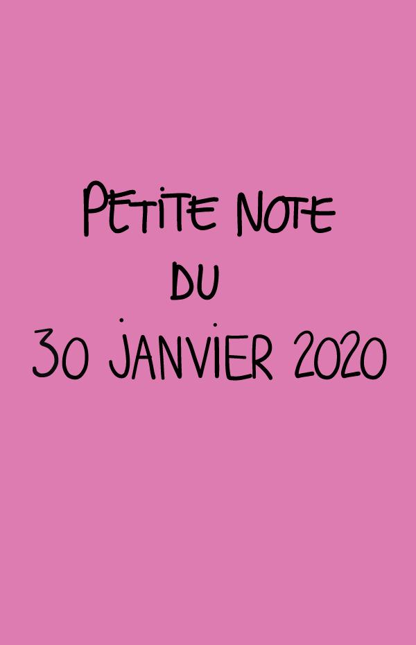 Petite note du 30 janvier 2020
