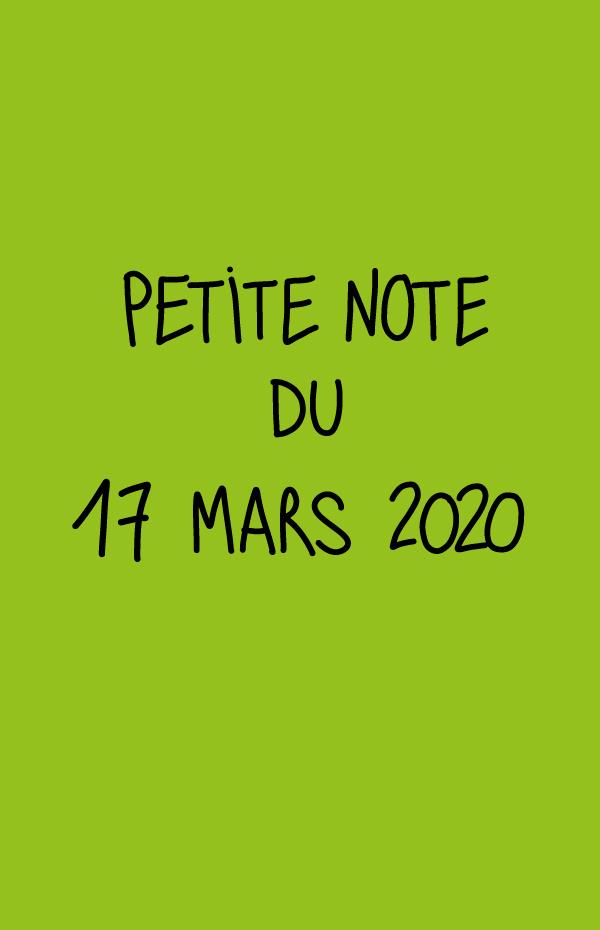 Petite note du 17 mars 2020