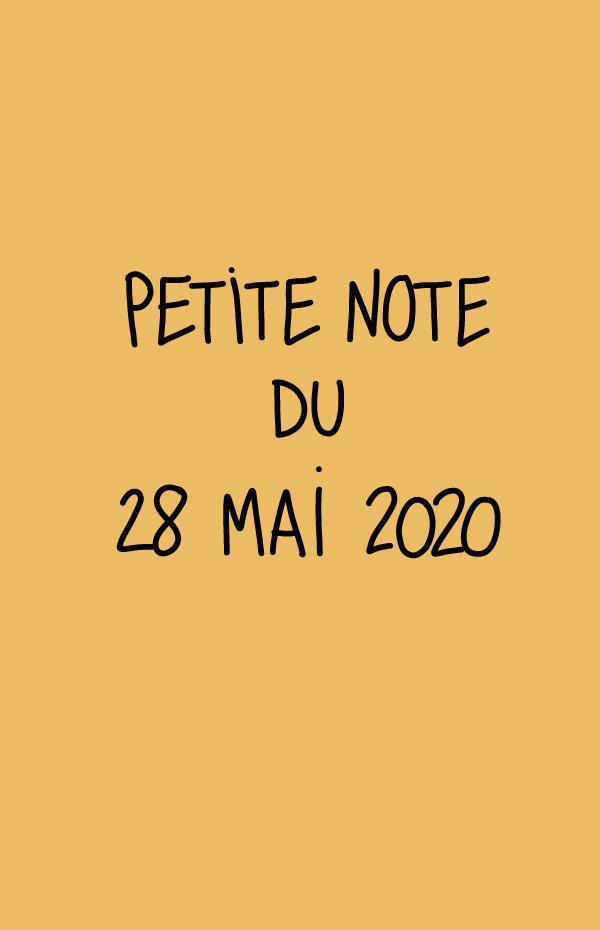 Petite note du 28 mai 2020