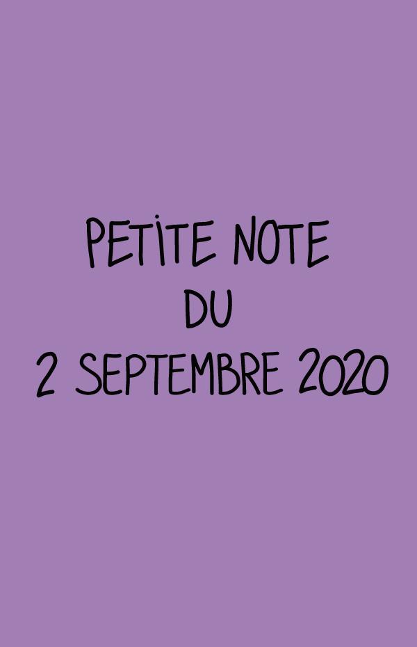 Petite note du 2 septembre 2020