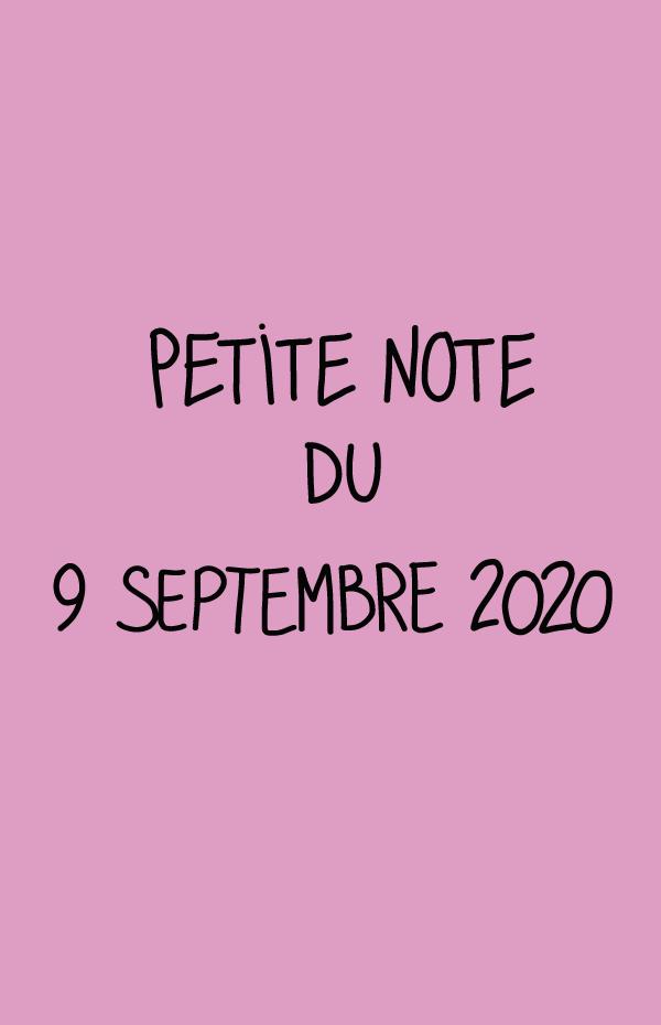 Petite note du 9 septembre 2020