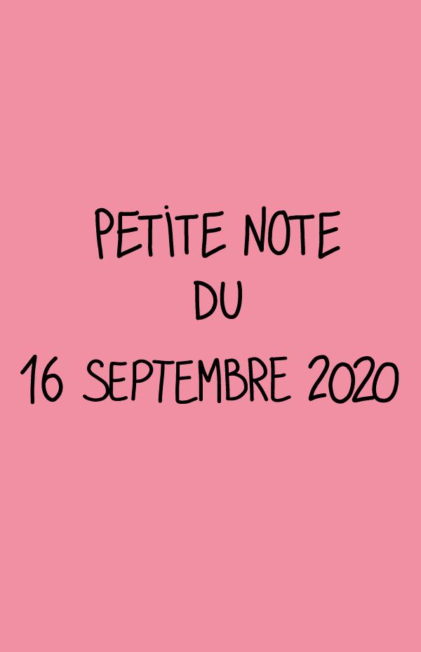 Petite note du 16 septembre 2020