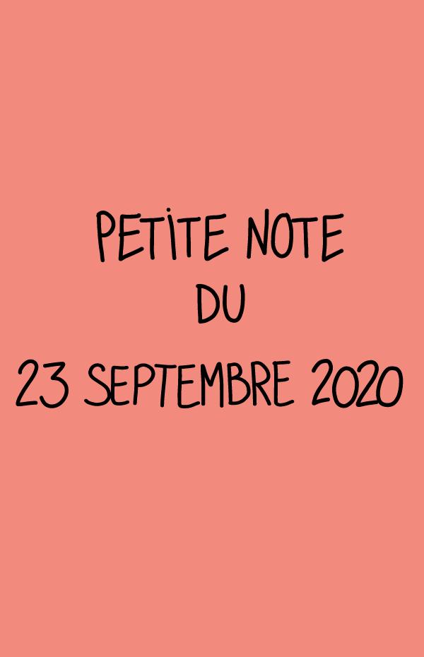Petite note du 23 septembre 2020