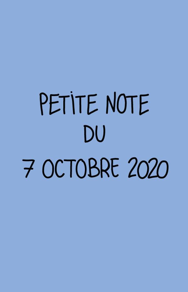 Petite note du 7 octobre 2020
